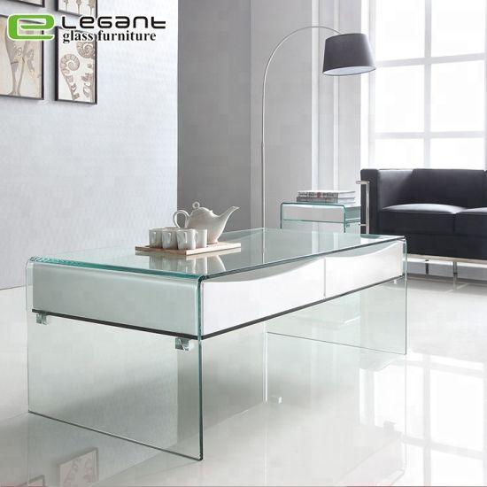 Tavolini Di Vetro Design.Cina Tavolino Da Salotto Di Vetro Curvo Con Gli Alti Cassetti