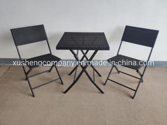 China Plástico Three Piece Rattan juego de mesa y silla