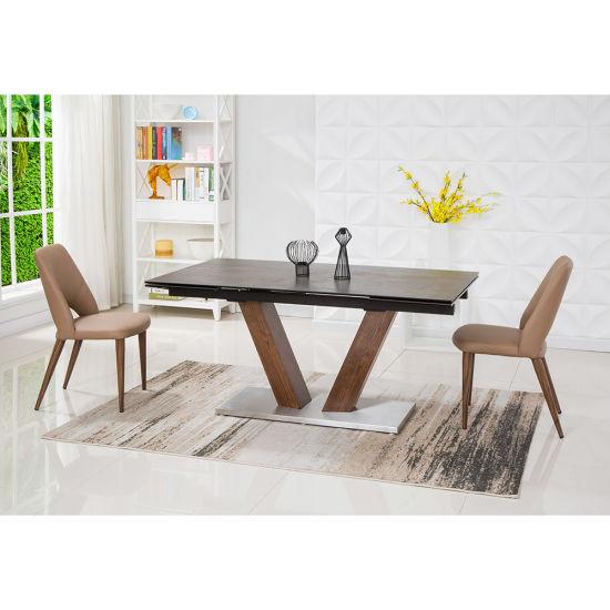 Rectángulo de madera vidrio cerámico España mesa de comedor Muebles de salón