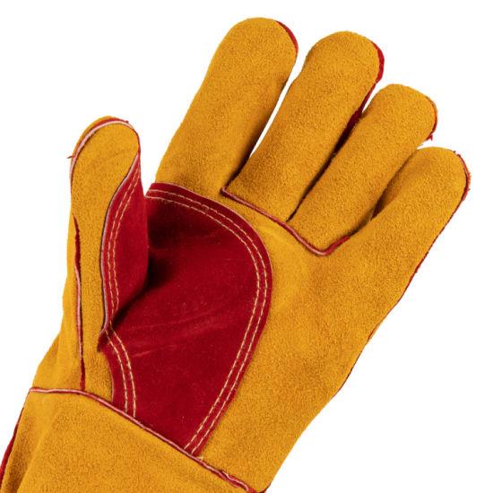 1 par de guantes de soldadura de cuero de vaca largo colorido de la manga de cuero resistente al desgaste guantes de soldadura