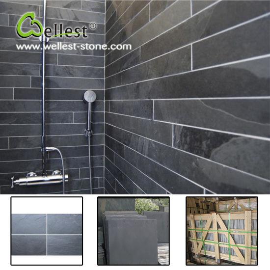Salle de bains revêtement mural Surface rodée naturel noir ardoise avec le  meilleur prix