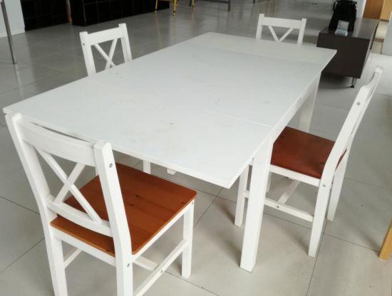 mesa sillas madera maciza blanco