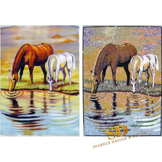 Chine Animal Mosaïque murale de 2 chevaux Designs pour salle ...