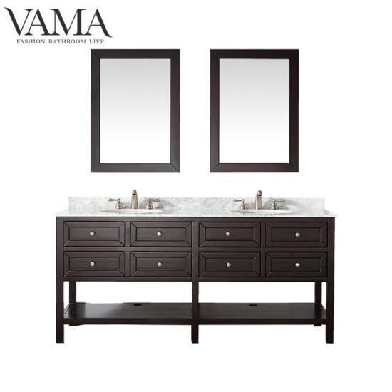 Vama Espresso de 72 pouces couleur Salle de bains meubles en bois massif de  la vanité 704072 Combo