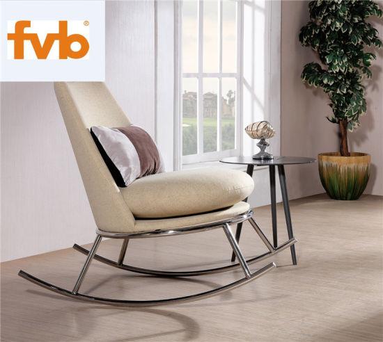 Home Moderna Sedia A Dondolo In Tessuto Bianco Soffuso Con Acciaio Inox