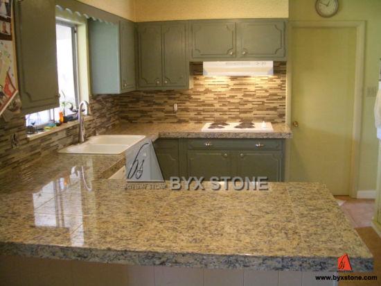 Noir/brun/jaune/Golden/beige/vert/bleu/gris/blanc de comptoirs en granit  naturel pour la Cuisine/ Projet d\'hôtel La salle de bains