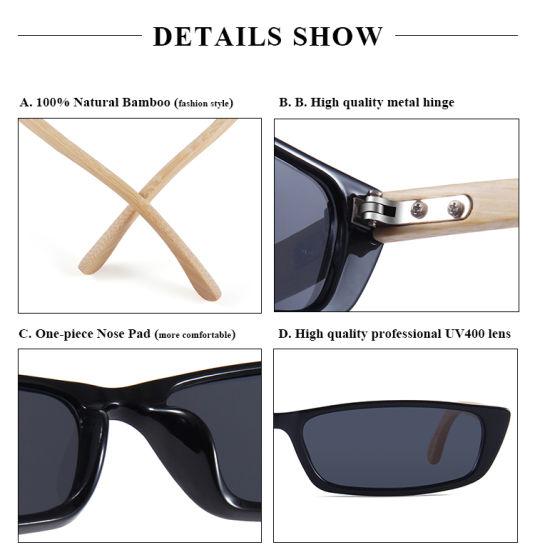 Petit rectangle de plastique et le Bambou des lunettes de soleil Lunettes de soleil Vente en ligne