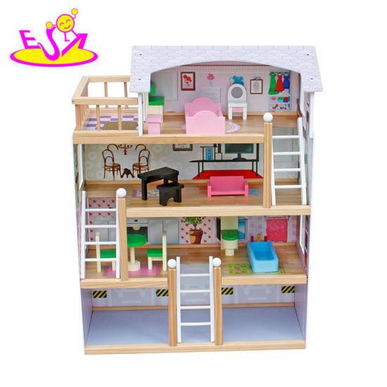 лучших роскошных 4 этажа детей деревянные Dollhouse комплекты с гараж W06a238