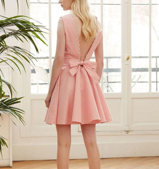 Chine Rayé rose dentelle robe creux femmes robe Vintage