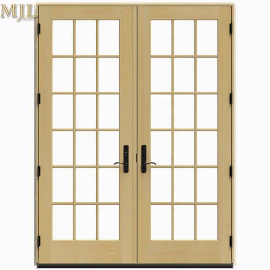 новый дизайн двойной закаленное стекло алюминия деревянные двери на французском языке