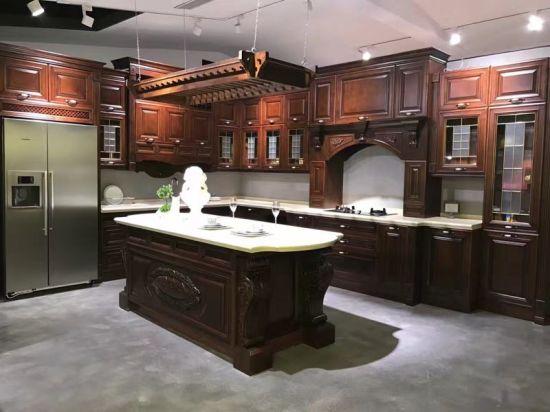 Mobilia di lusso della cucina degli accessori di disegni semplici di legno  solido di stile americano
