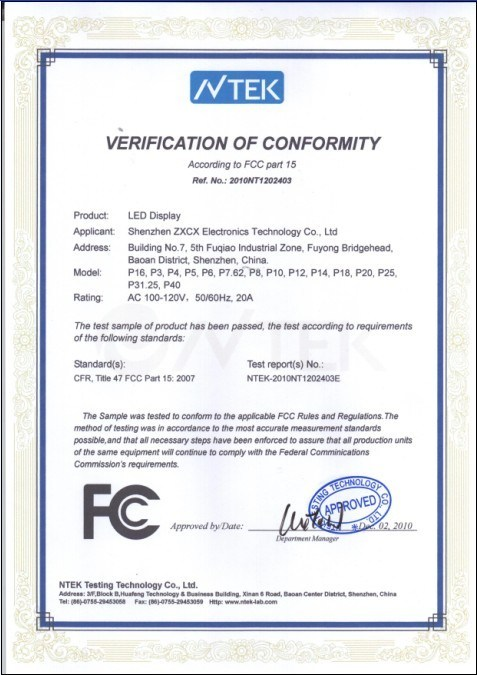 Verification of Conformity for LED Display