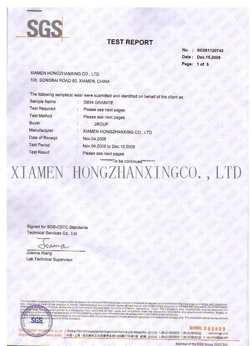 G654 padang dark HZX SGS certificate technical data