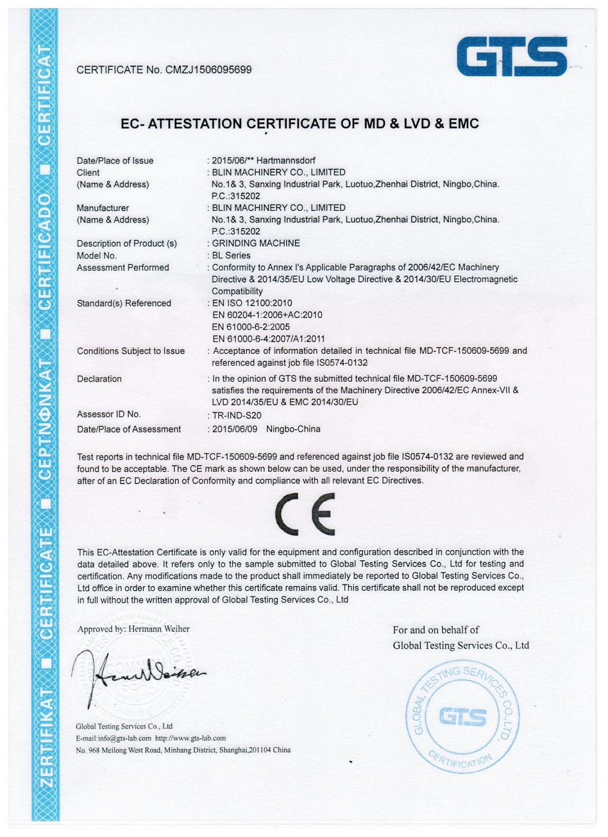 CE Certificate of Grinding Machine