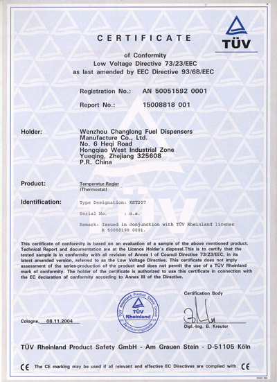 TUV CERTIFICATE OF CONFORMITY - Wenzhou Changlong Fuel Dispenser ...