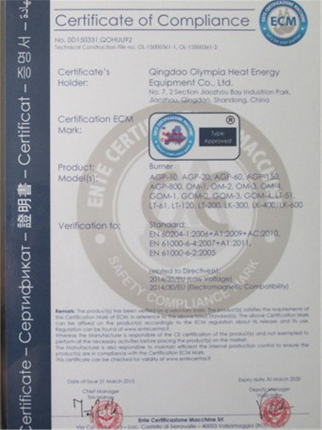 CE certificate of incinerator