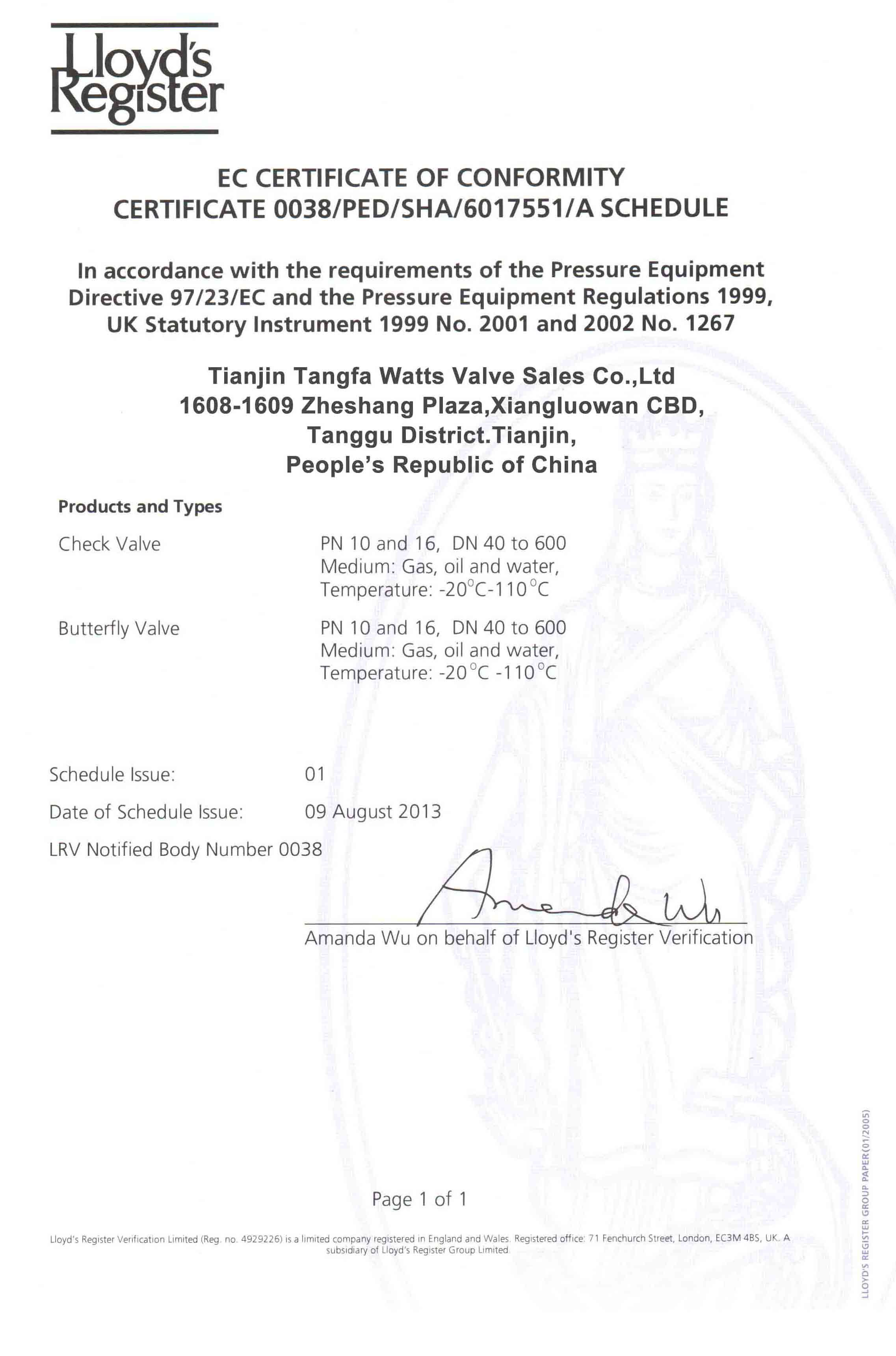 CE Certificate for Butterfly valves and Check valves