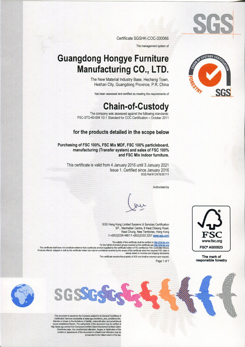 [Certified News ]FSC Forest Certified Approved by SGS Good News from Guangdong Hongye Furniture Manu
