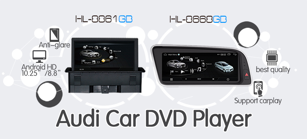 audi android car dvd player:carplay+Android phone connections