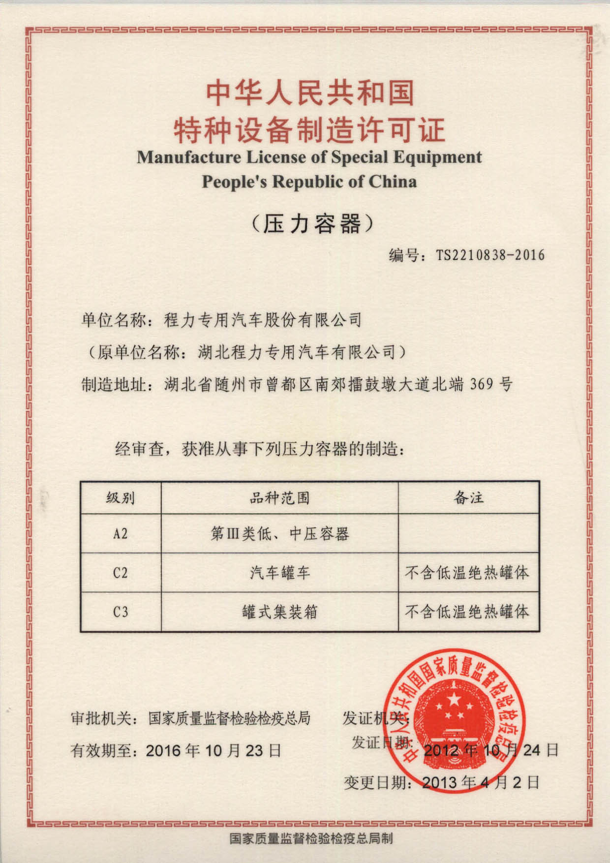 Manufacture License of Special Equipment - Chengli Special ...