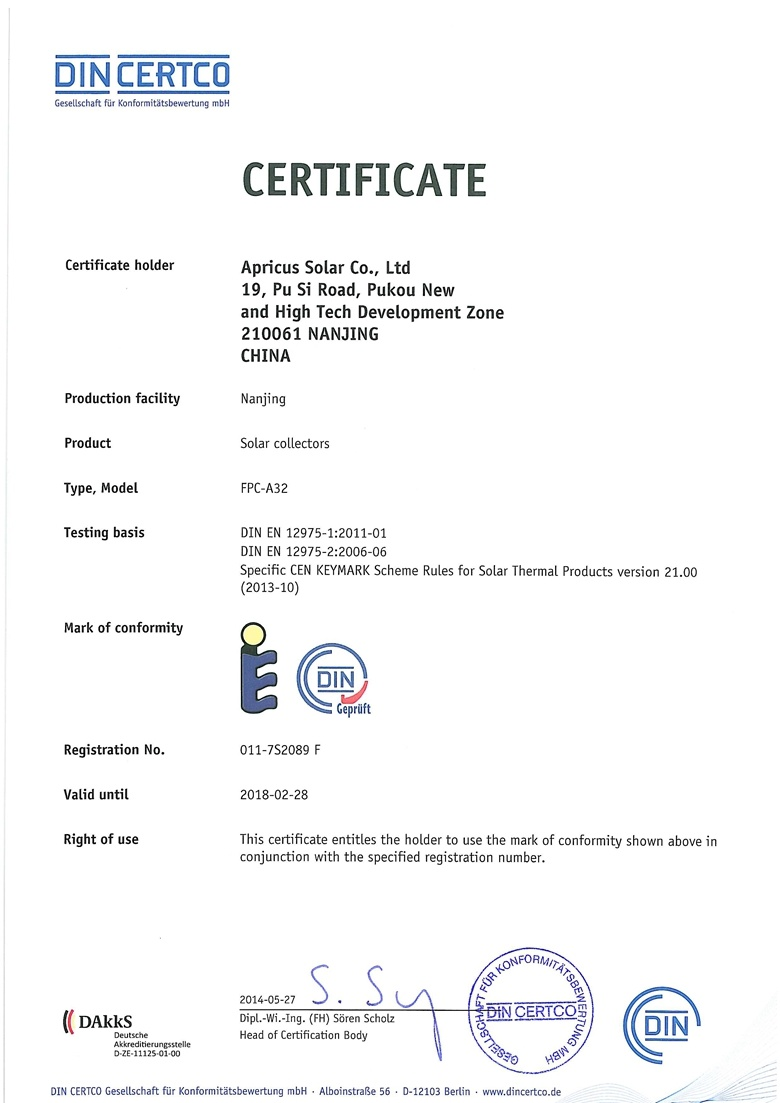 Solar Keymark Fpc A32 Apricus Solar Co Ltd