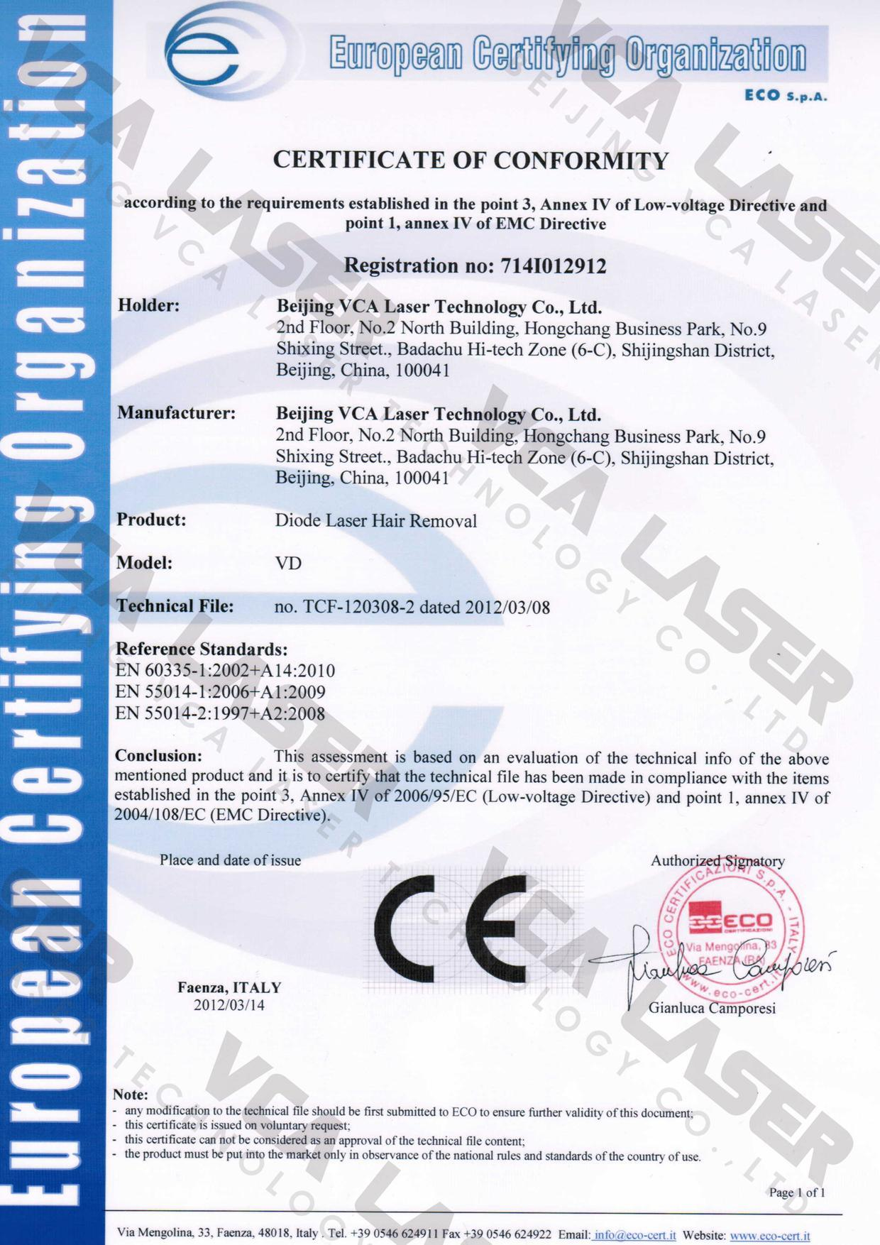 808nmdiodelaser ce certification beijing vca laser technology co 808nmdiodelaser ce certification 1betcityfo Choice Image
