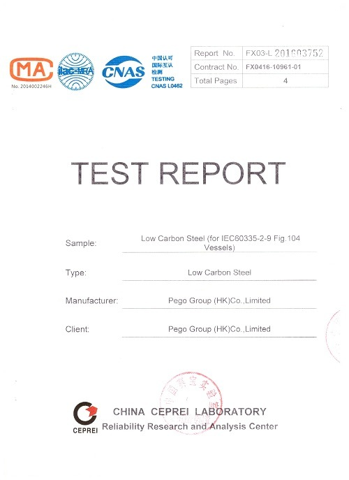 Low Carbon Steel Contents Test Report for Test Vessels