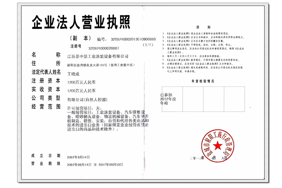 The company's business license