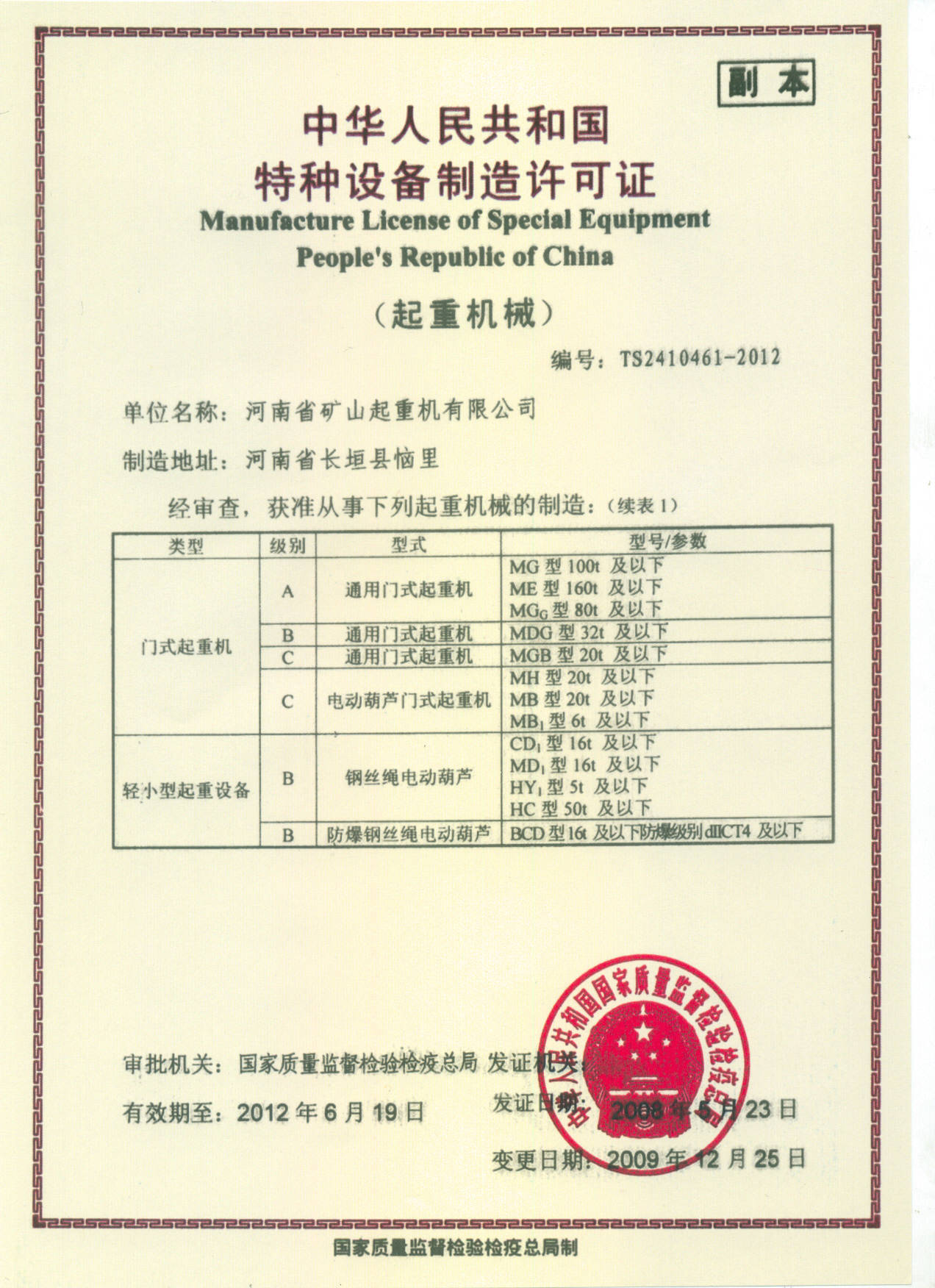 Manufacture license of special equipment-gantry crane - Henan ...