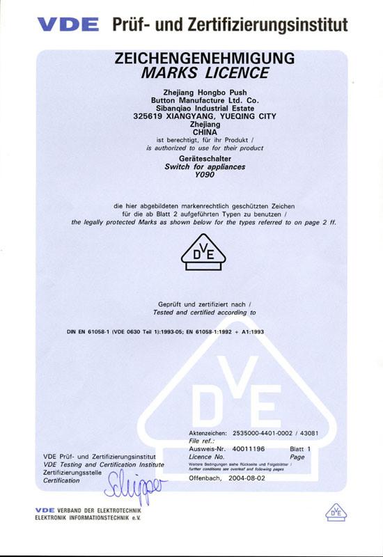 Y090(LAS0) VDE - Onpow Push Button Manufacture Co., Ltd.