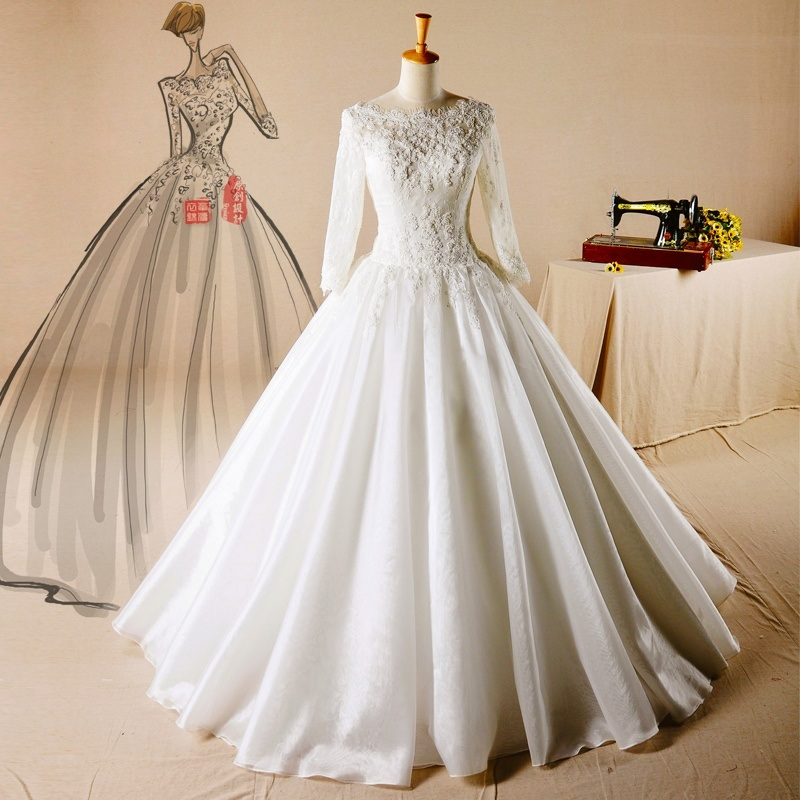 Customized Bridal Wedding Dress Long Sleeves Muslim Wedding Gowns ...