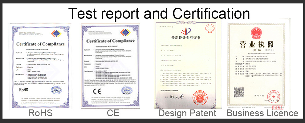 test report and company license