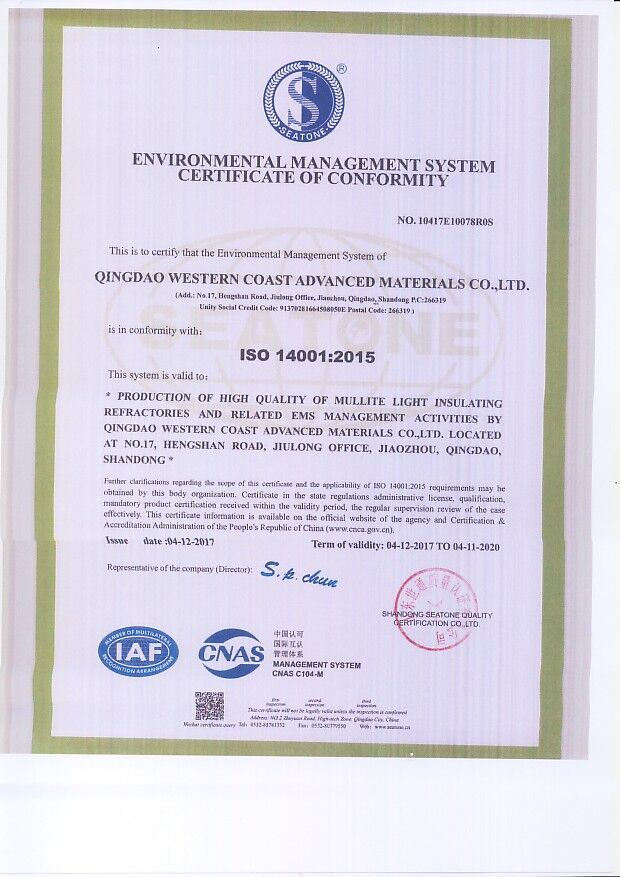 ISO ENVIRONMENT CERTIFICATE