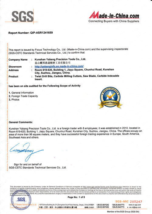 Certificates - Kunshan Yabang Precision Tools Co , Ltd