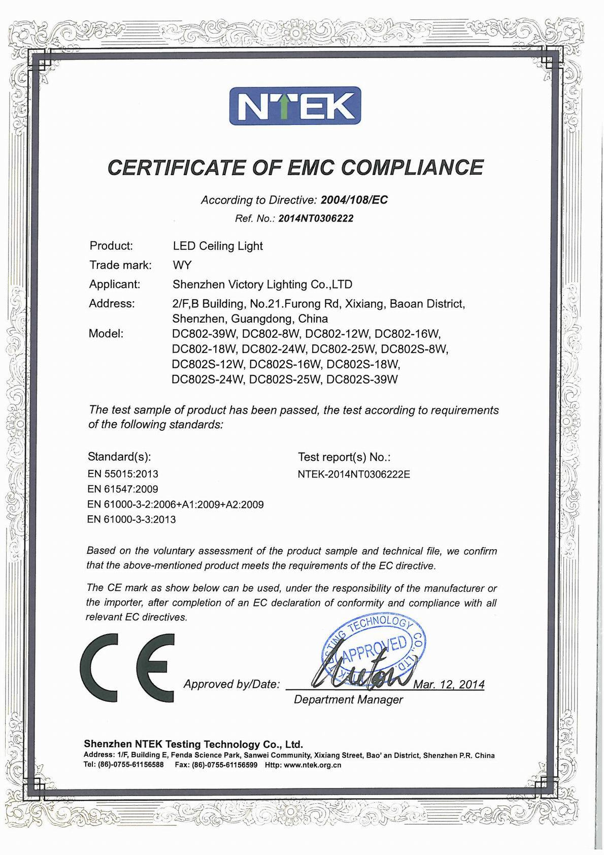 certification emc led ce ceiling lighting shenzhen victory ltd reasonable dimmable availabe sensor supply