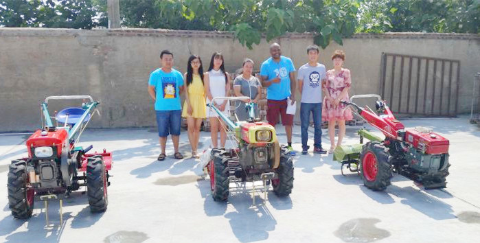 Distributor visited us on walking tractor mini farm tractor