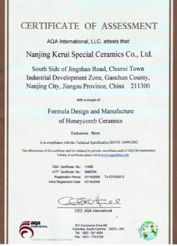 Ceramic substrate Assessment Certificate
