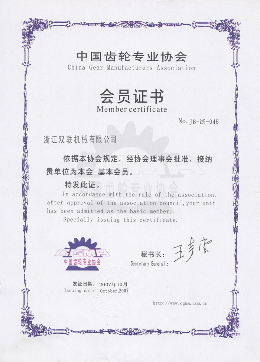 The certificates of Gear association member