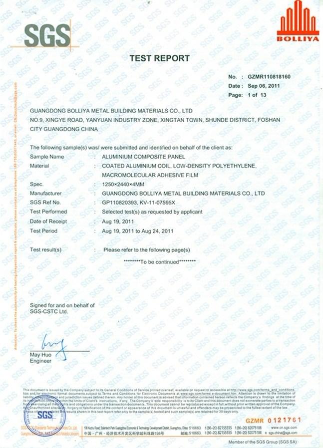 SGS Test Report 1 - Guangdong Bolliya Metal Building