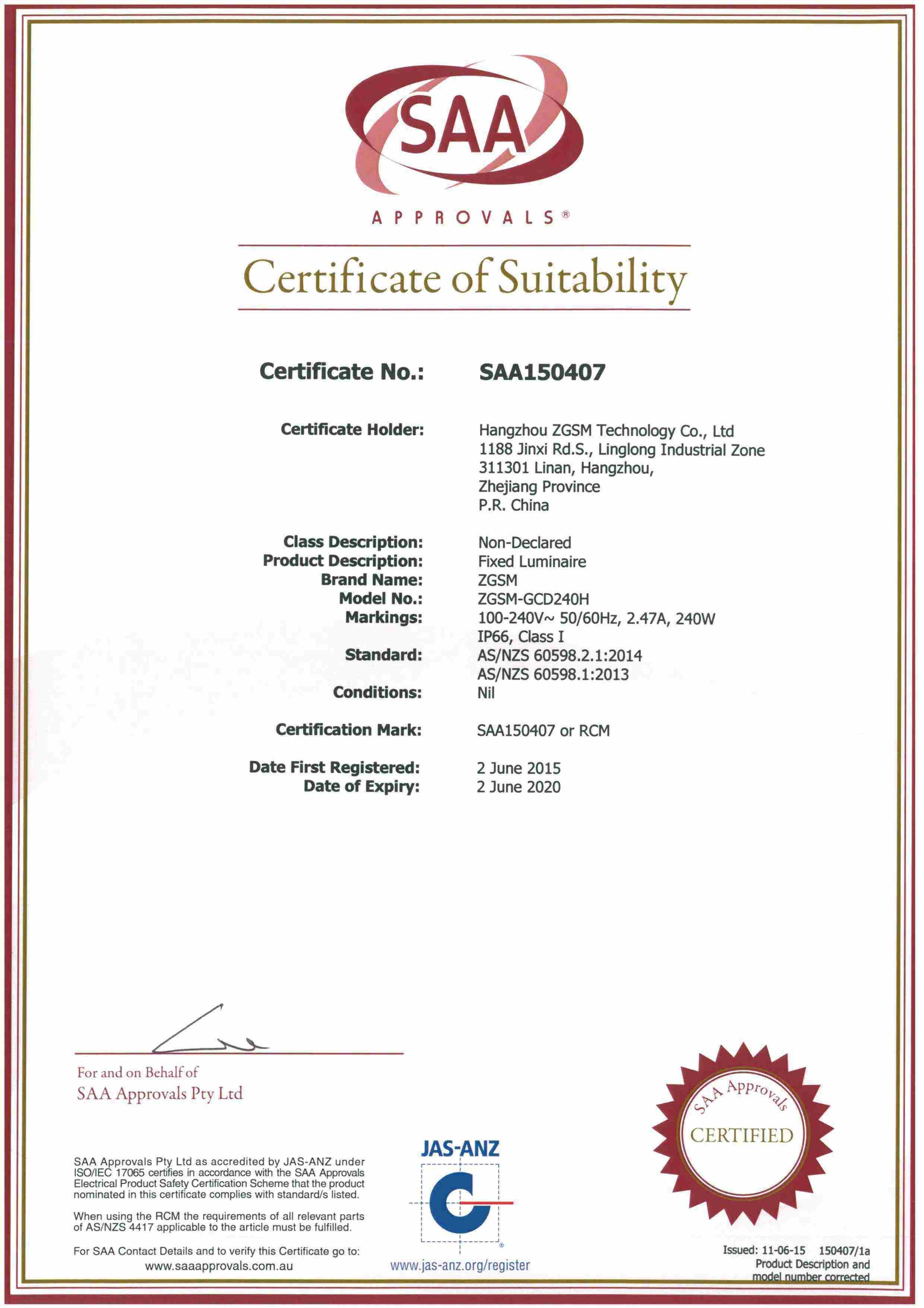 Saa Certificated Led Street Light Hangzhou Zgsm Technology Co Ltd