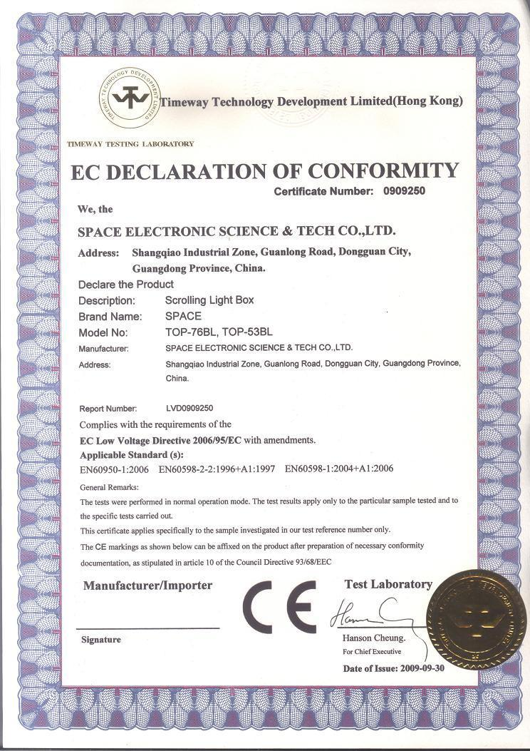Ce certificate dongguan space electronic science and tech co ltd ce certificate yelopaper Image collections