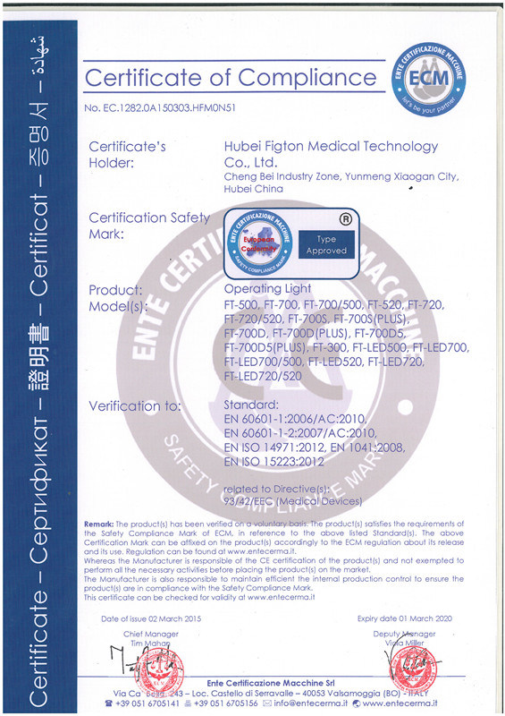 ECM certificate for operating lamp