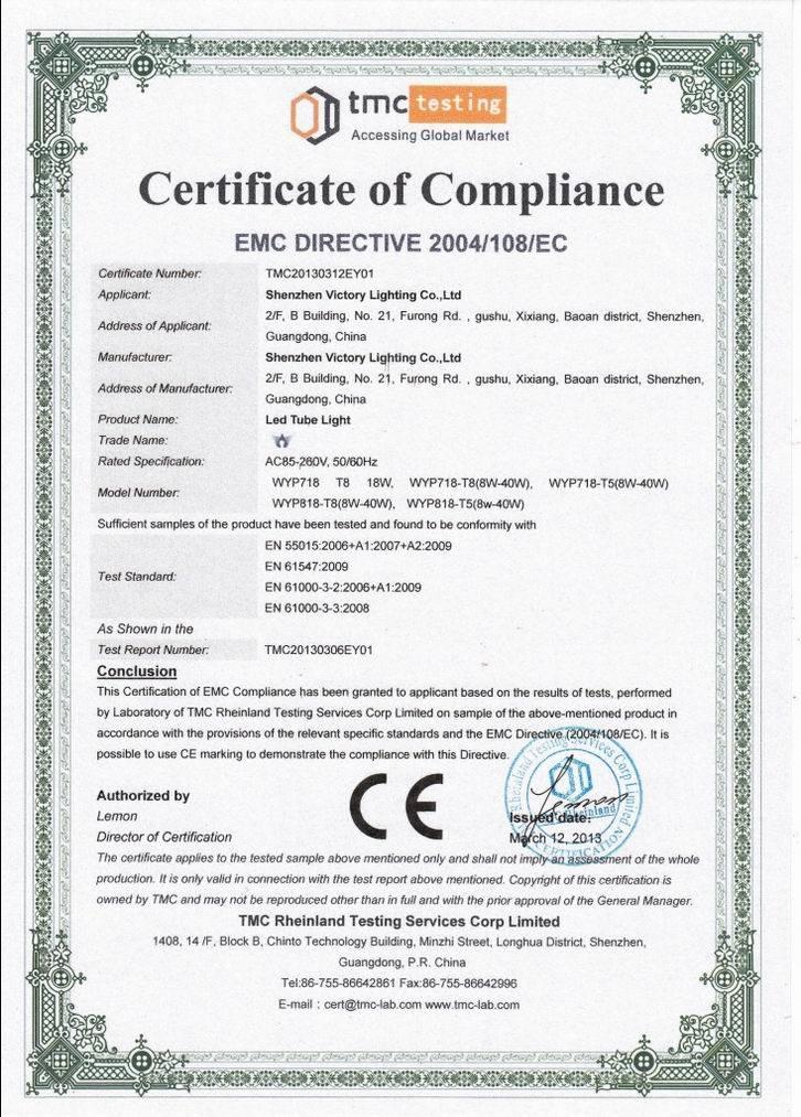 Led Tube Light Ceemc Certification Shenzhen Victory Lighting Co