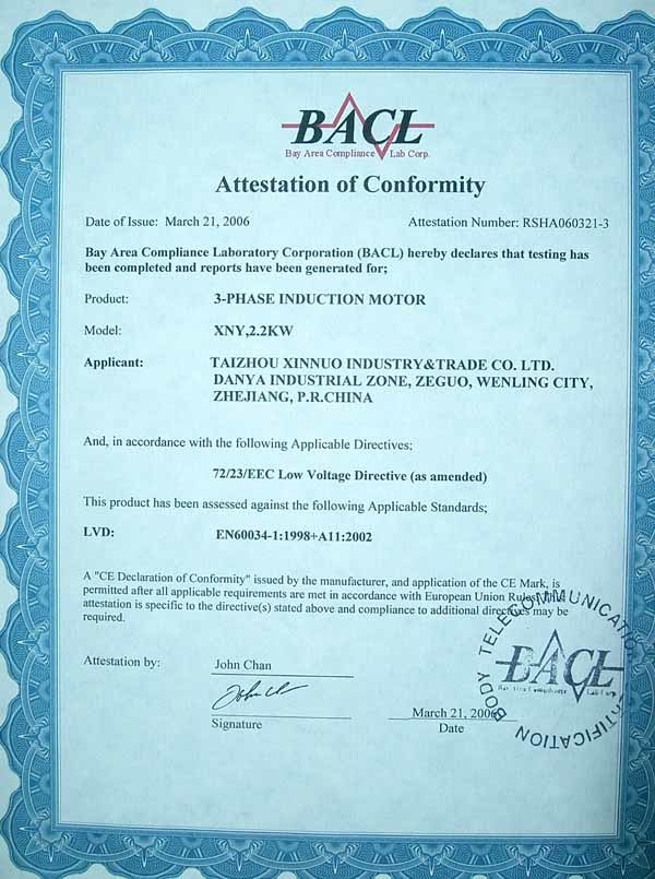 CE Certificate of three phase induction motor