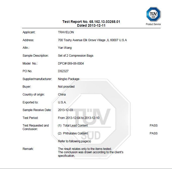 TUV test report for vacuum bag for USA customer