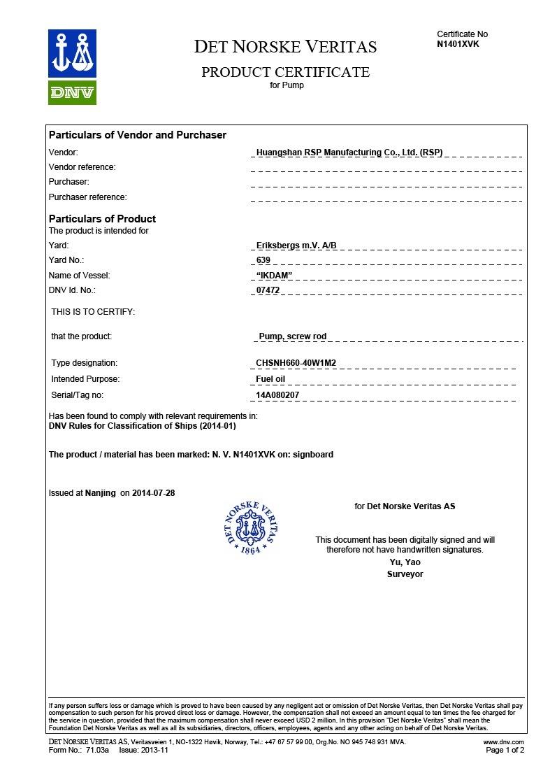 Rsp Marine Screw Pump Dnv Certified Huangshan Rsp Manufacturing Co