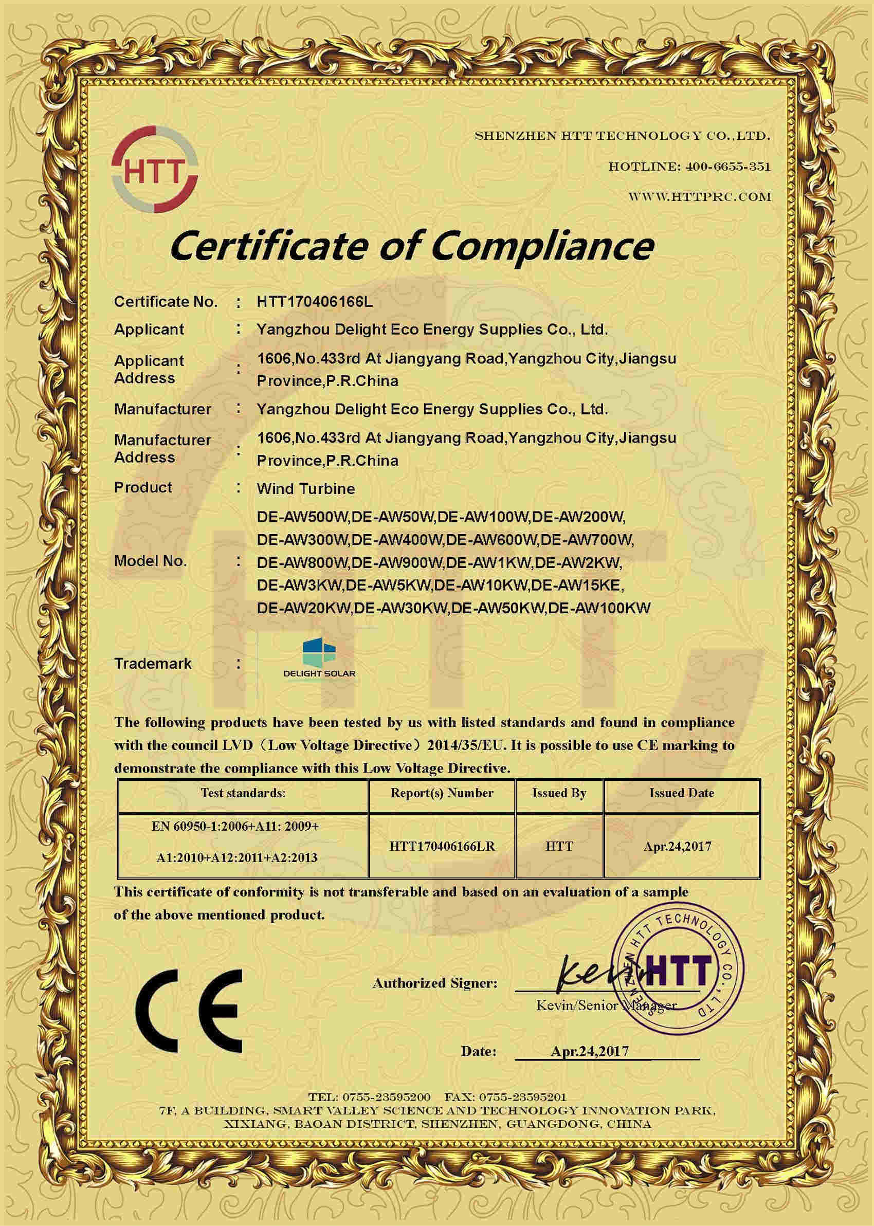 CE-LVD certificate for wind turbine