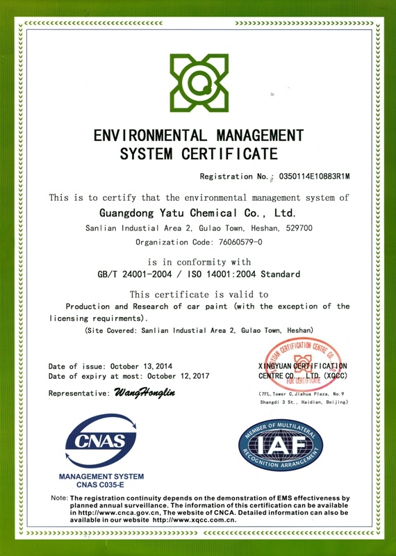 YATU Auto Paint ISO 140001 Environment certified