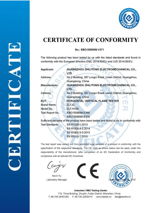 CE Certificate for Horizontal Vertical Flame Tester - Guangzhou ...
