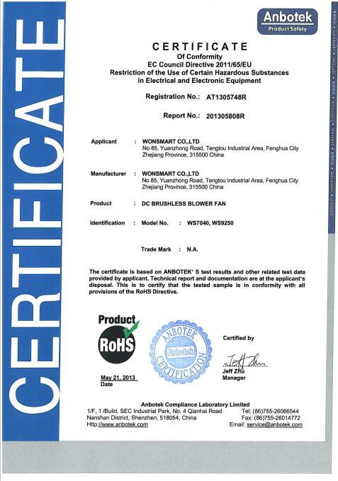 BLOWER ROHS CERTIFICATION - Wonsmart Co., Ltd.
